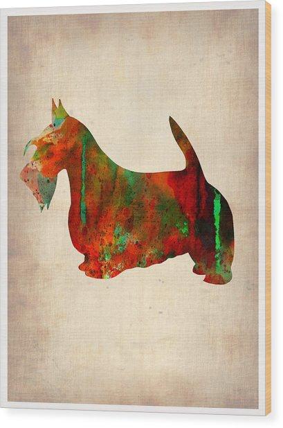 Scottish Terrier Watercolor 2 Wood Print
