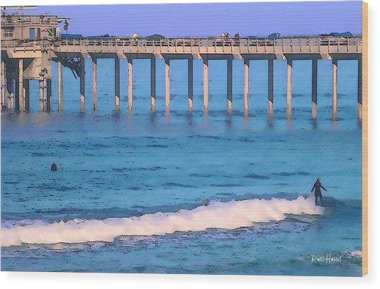 Scripps Pier - Surfing Wood Print