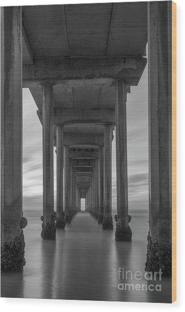 Scripps Pier Pillars Bw Wood Print