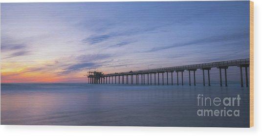 Scripps Pier Silhouette  Wood Print
