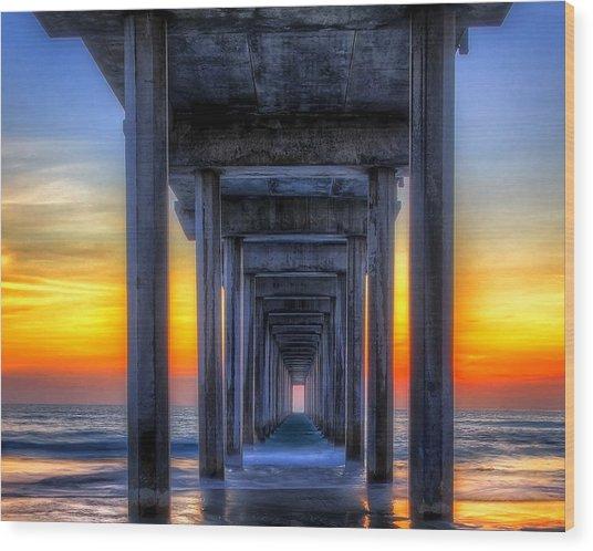 Scripp's Pier Sunset La Jolla California Wood Print