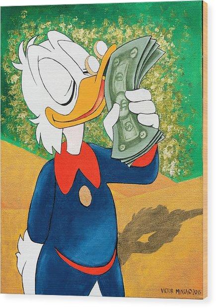 Scrooge Mcduck Kissing Money Wood Print