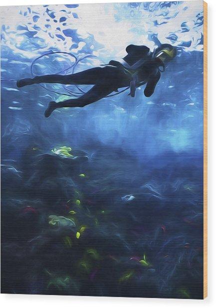 Scuba Diver Wood Print