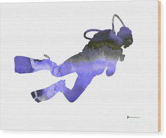Scuba Diver Watercolor Silhouette Wood Print