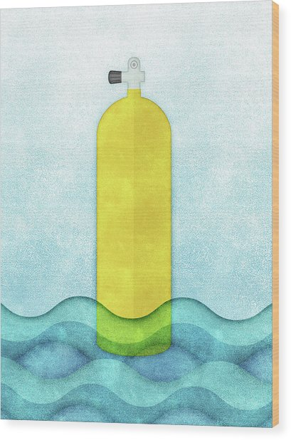 Scuba Diving - Yellow Tank On Blue Wood Print