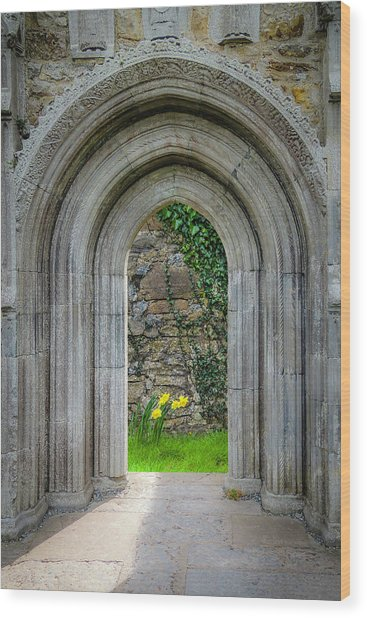 Wood Print featuring the photograph Sculpted Portal To Irish Spring Garden by James Truett