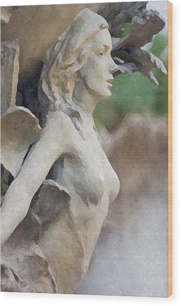 Sculpture Of Angelic Woman Wood Print by Christopher Purcell