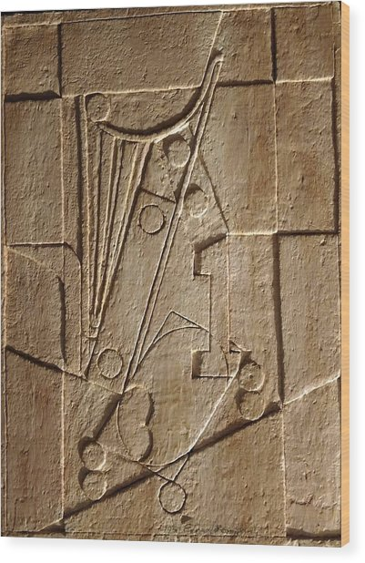 Sculptured Panel - Influenced By Picasso's Painting Having The Number 1 Wood Print