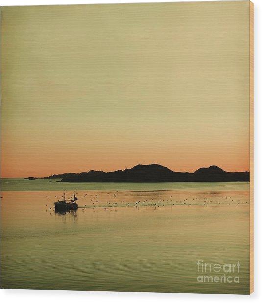 Sea After Sunset Wood Print