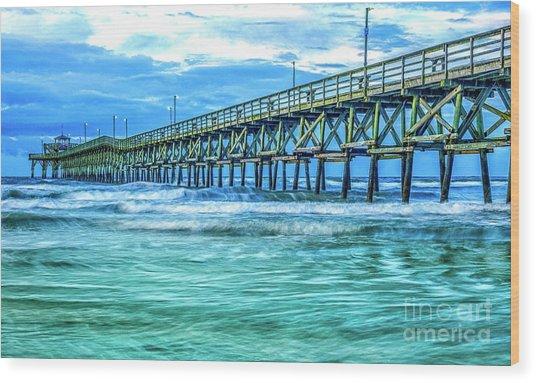Sea Blue Cherry Grove Pier Wood Print