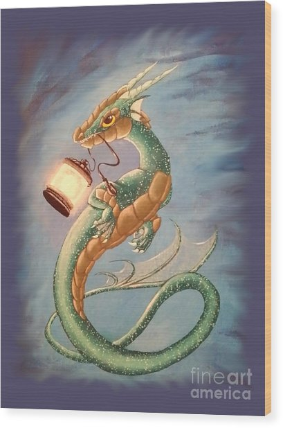 Wood Print featuring the painting Sea Dragon And Lantern by Mary Hoy