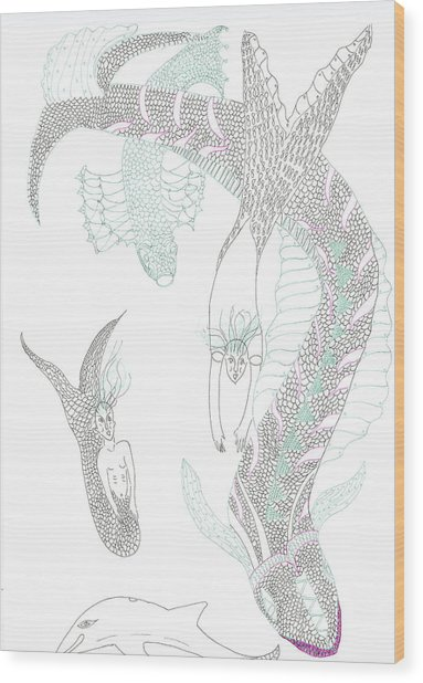 Sea Dragons And Mermaids Wood Print