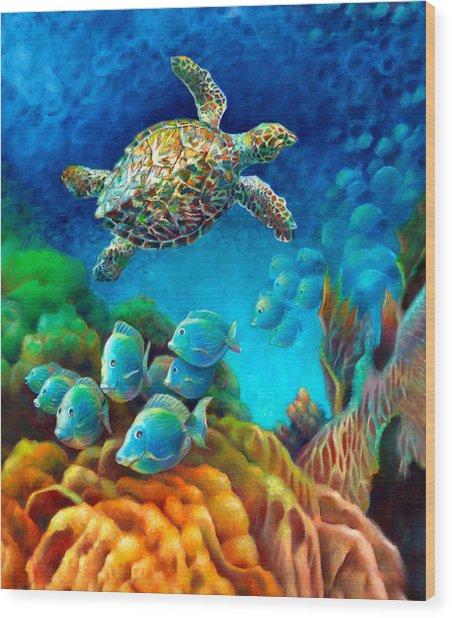 Sea Escape IIi - Gemstone Hawksbill Turtle Wood Print