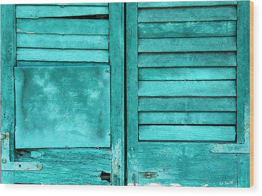 Sea Foam Shutters Wood Print