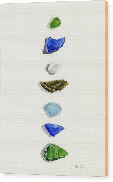 Sea Glass Watercolor Wood Print by Sheryl Heatherly Hawkins