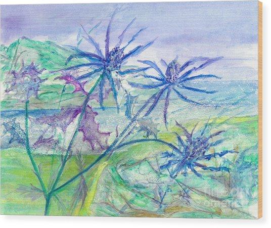 Sea Holly Wood Print
