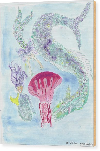 Sea Joys, Red Jelly Fish And Dragon Wood Print