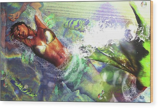 Wood Print featuring the digital art Sea Lioness by Baroquen Krafts