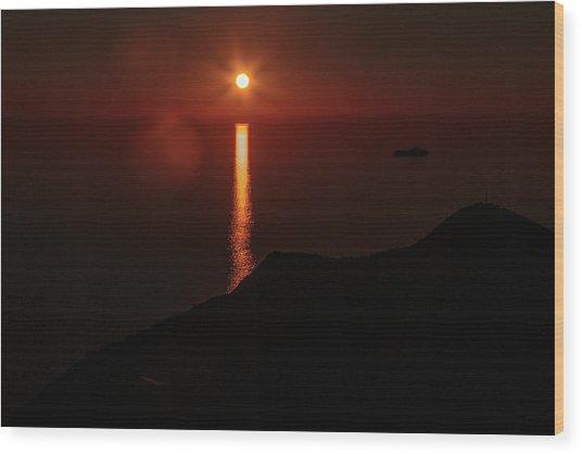 Sea, Mountains, Sunset, Sun Sinking Over The Horizon Wood Print