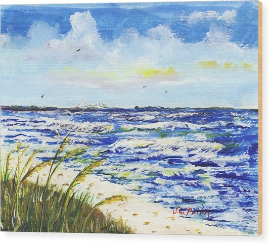 Sea Oats And Skyway Wood Print by JC Prida