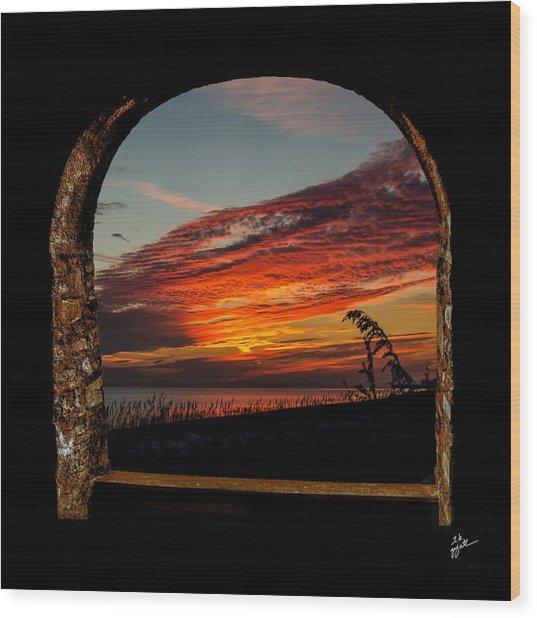 Sea Oats And Sunset Wood Print