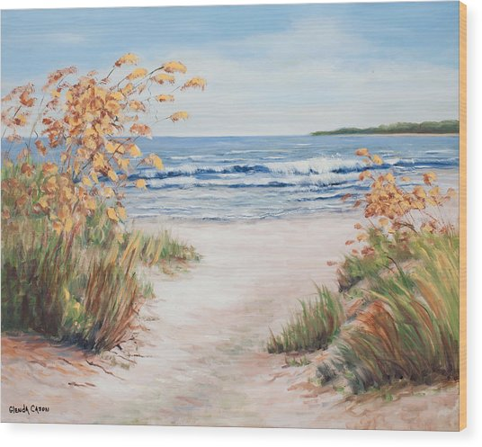 Sea Oats And Sunshine Wood Print