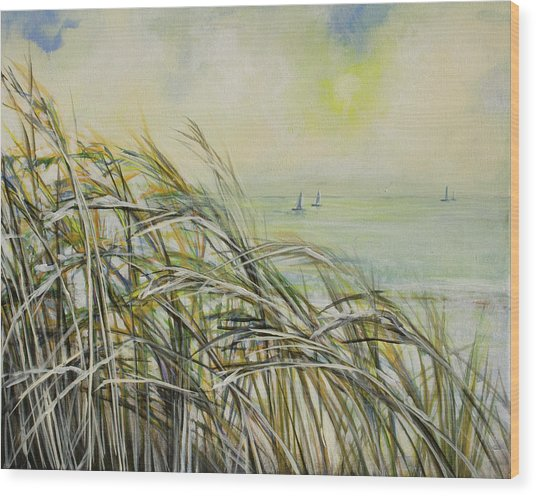 Sea Oats Sailboats Wood Print by Michele Hollister - for Nancy Asbell