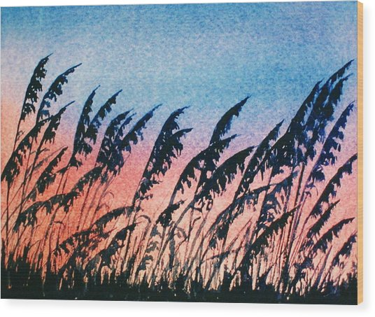 Sea Oats Silouette Wood Print by Suzanne Krueger