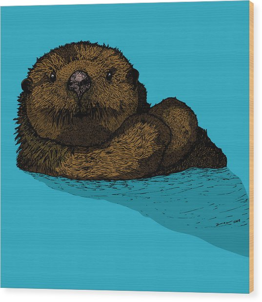 Sea Otter - Full Color Wood Print by Karl Addison