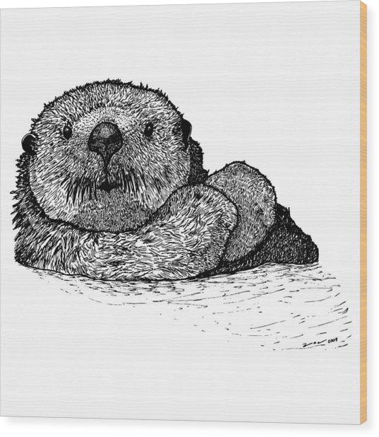 Sea Otter Wood Print by Karl Addison