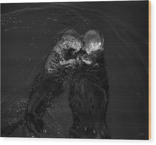 Sea Otters II Bw Wood Print