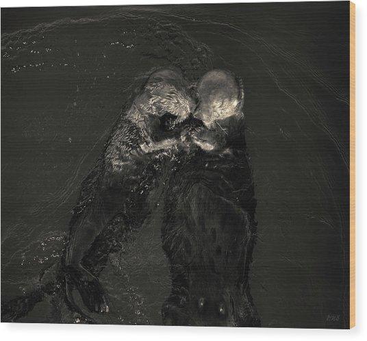Sea Otters II Toned Wood Print by David Gordon