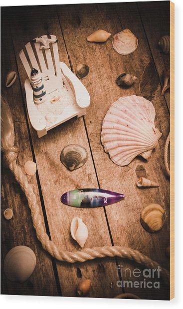 Sea Shell Decking Wood Print