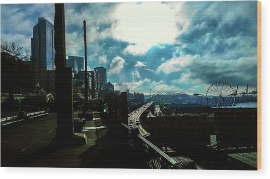 Sea Side, Seattle  Wood Print