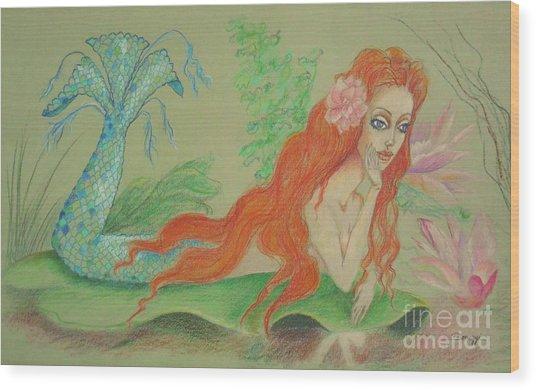 Sea Siren, Resting -- Whimsical Mermaid Drawing Wood Print