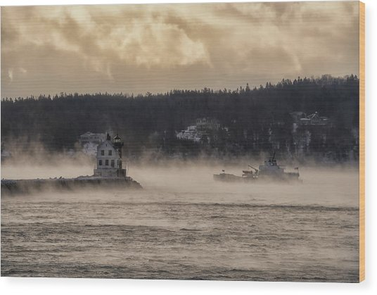 Sea Smoke At Rockland Breakwater Light Wood Print