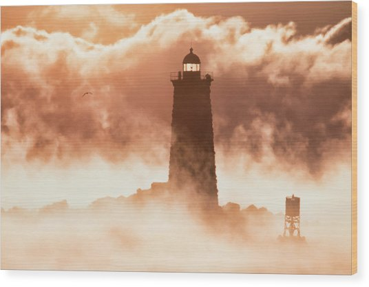 Sea Smoke At Whaleback Lighthouse Wood Print