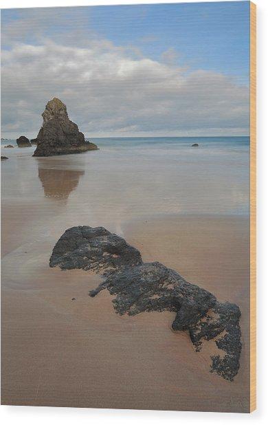 Sea Stack And Jurassic Looking Rock On Sango Bay Wood Print by Maria Gaellman