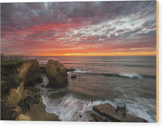 Sea Stack Sunset Wood Print