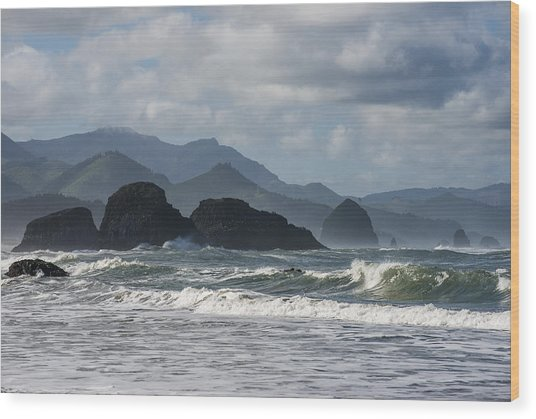 Sea Stacks And Surf Wood Print