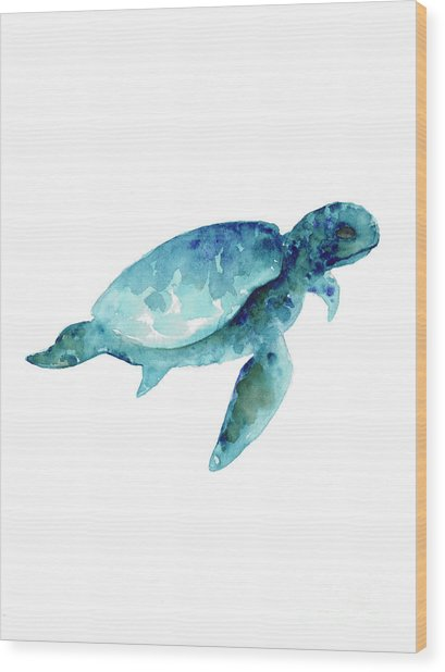 Sea Turtle Abstract Painting Wood Print