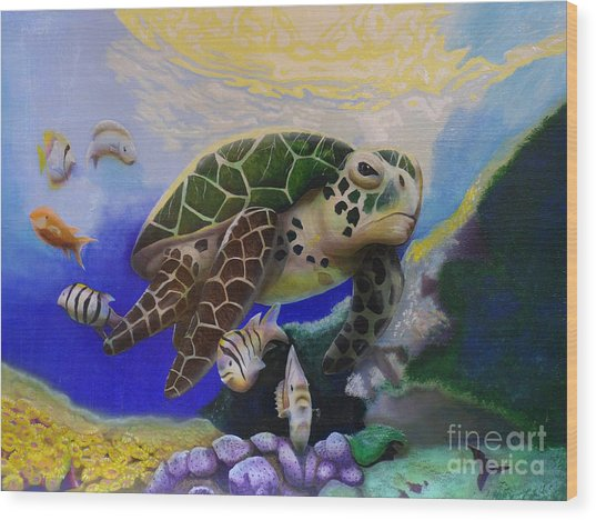 Sea Turtle Acrylic Painting Wood Print