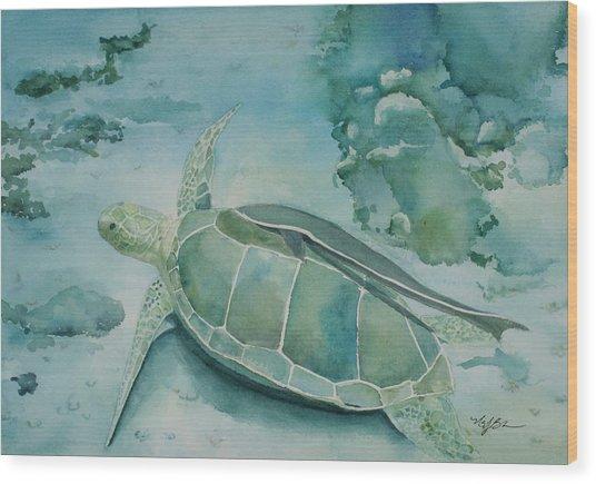 Sea Turtle And Friend Wood Print