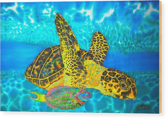 Sea Turtle And Parrotfish Wood Print