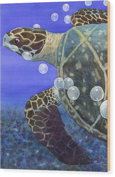 Sea Turtle Wood Print by Catherine G McElroy