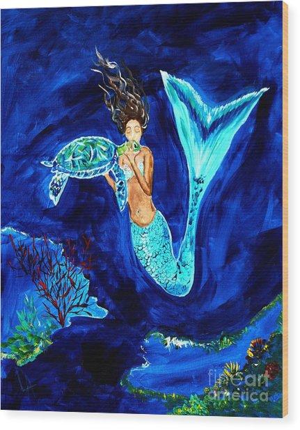 Sea Turtle Kiss Wood Print