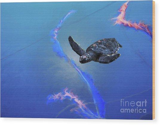 Sea Turtle Wood Print