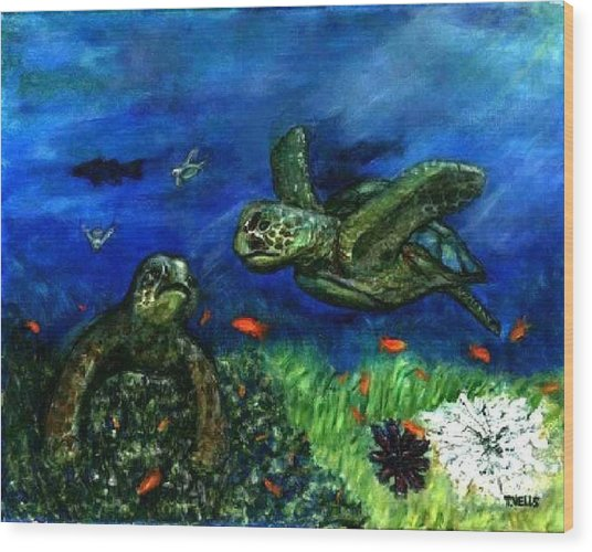 Sea Turtle Rendezvous Wood Print by Tanna Lee M Wells