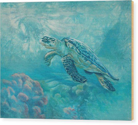 Sea Turtle Wood Print by Vicky Russell