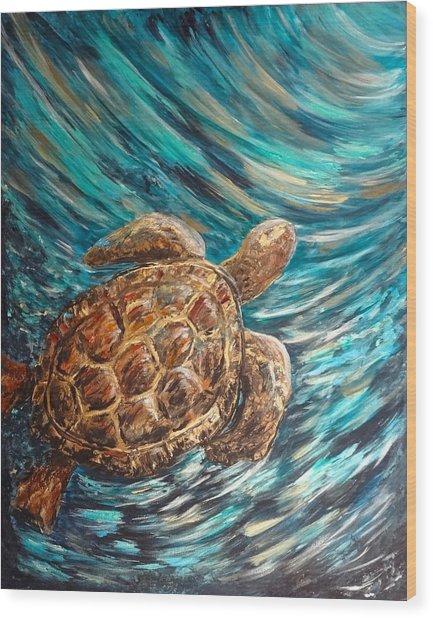 Sea Turtle Wave Guam Wood Print